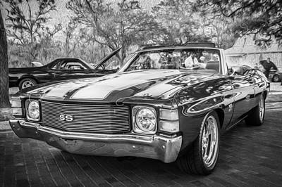 1971 Chevrolet Chevelle Ss Ls1 Convertible Bw Poster by Rich Franco