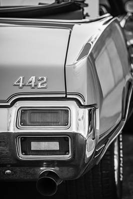 1971 Oldsmobile 442 Convertible Taillight Emblem -1683bw Poster by Jill Reger