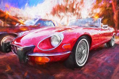 1975 Jaguar Xke V12 Convertible Painted  Poster by Rich Franco