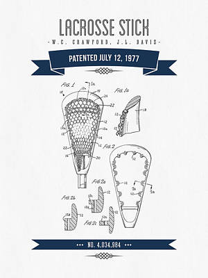 1977 Lacross Stick Patent Drawing - Retro Navy Blue Poster by Aged Pixel