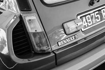 1980 Renault Series 1 R5 Turbo Taillight Emblem -0082bw Poster by Jill Reger