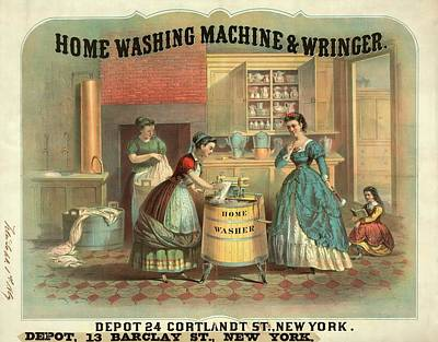 19th Century Advert For A Washing Machine Poster by Library Of Congress