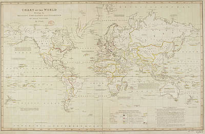 19th Century Demographic Map Of The World Poster by British Library