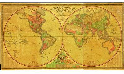 19th Century Map Of The World Poster by American Philosophical Society