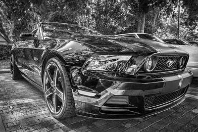 2013 Ford Shelby Mustang Gt 5.0 Convertible Bw  Poster by Rich Franco