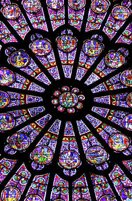 A Rose Window In Notre Dame Cathedral Poster by William Sutton