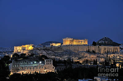 Acropolis Of Athens During Dusk Time Poster by George Atsametakis