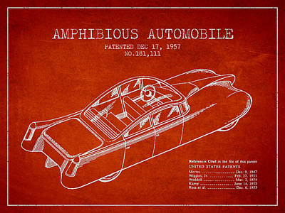 Amphibious Automobile Patent From 1957 Poster by Aged Pixel