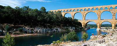 Aqueduct Across A River, Pont Du Gard Poster by Panoramic Images