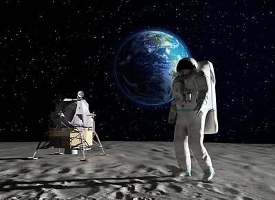 Astronaut On The Moon Poster by Andrzej Wojcicki