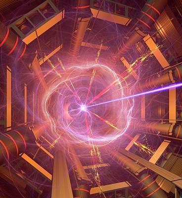 Atlas Particle Collision Simulation Poster by David Parker