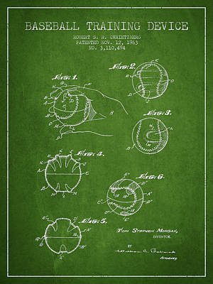 Baseball Training Device Patent Drawing From 1963 Poster by Aged Pixel