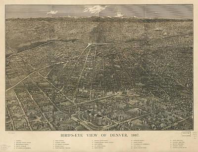 Birdseye Map Of Denver Colorado - 1887 Poster by Eric Glaser