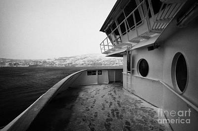 Bridge And Snow Covered Walkway On Board Hurtigruten Ferry Passenger Ship Docked In Hammerfest Durin Poster by Joe Fox