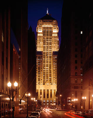 Buildings Lit Up At Night, Chicago Poster by Panoramic Images