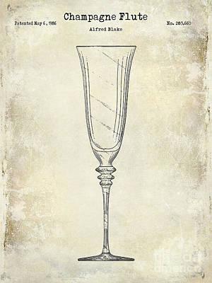 Champagne Flute Patent Drawing  Poster by Jon Neidert
