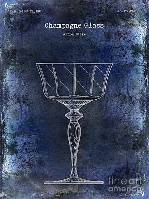 Champagne Glass Patent Drawing Blue  Poster by Jon Neidert