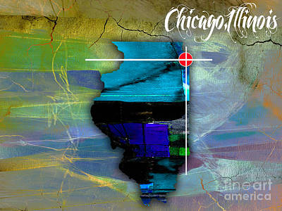 Chicago Illinois Map Watercolor Poster by Marvin Blaine