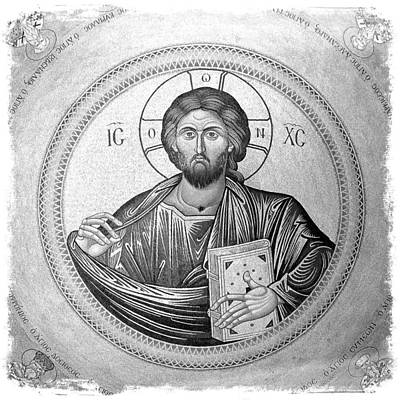 Christ Pantocrator In Black And White -- Church Of The Holy Sepulchre Poster by Stephen Stookey