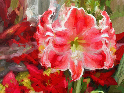 Christmas Lilies Poster by Digital Photographic Arts