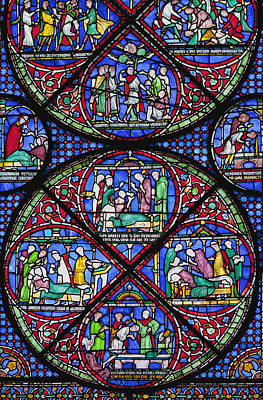 Colourful Stained Glass Window In Poster by Terence Waeland