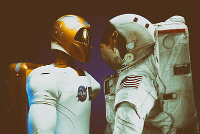 Contrast - Robonaut And Astronaut Poster by Mountain Dreams