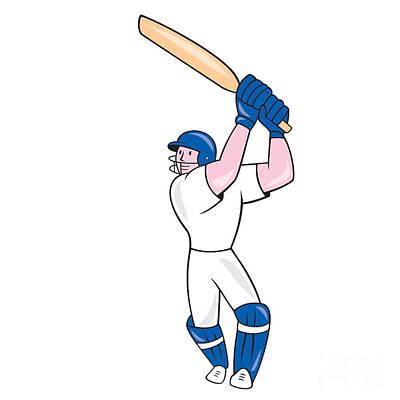 Cricket Player Batsman Batting Cartoon Poster by Aloysius Patrimonio