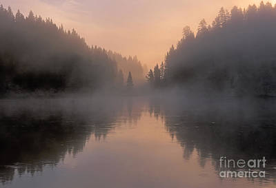 Dawn On The Yellowstone River Poster by Sandra Bronstein