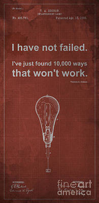 Edison Quote Incandescent Lamp Patent Blueprint Poster by Pablo Franchi