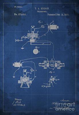 Edison Telephone Patent Blueprint 1 Poster by Pablo Franchi