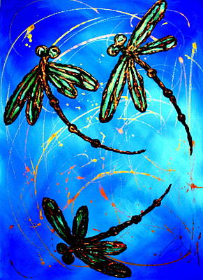 Electric Blue Dragonfly Flit Poster by Lyndsey Hatchwell