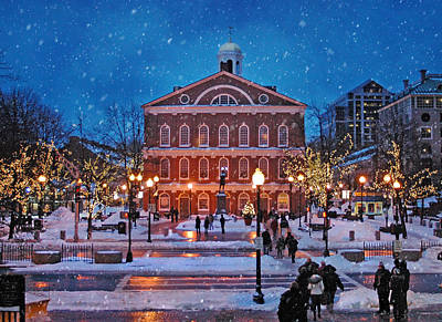Faneuil Hall Winter Poster by Joann Vitali