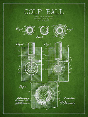 Golf Ball Patent Drawing From 1902 Poster by Aged Pixel