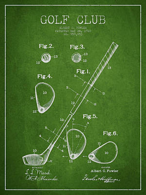 Golf Club Patent Drawing From 1910 Poster by Aged Pixel