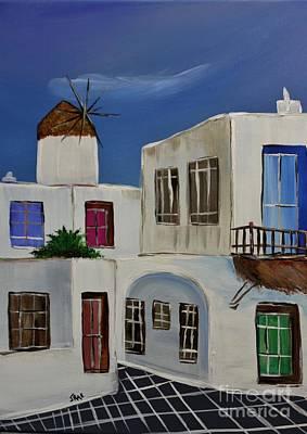 Greek Village Poster by Janice Rae Pariza