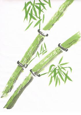 Green Bamboo Poster by Ken Hughson