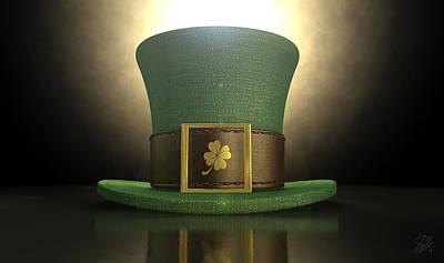 Green Leprechaun Shamrock Hat Poster by Allan Swart