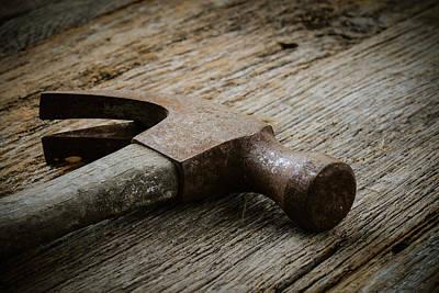 Hammer On Rustic Hardwood Floor Poster by Brandon Bourdages