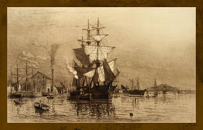 Historic Seaport Schooner Poster by John Stephens