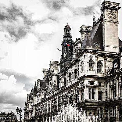 Hotel De Ville In Paris Poster by Elena Elisseeva
