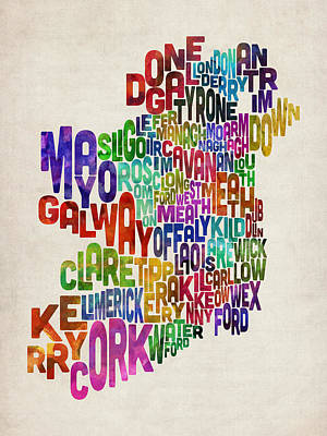 Ireland Eire County Text Map Poster by Michael Tompsett