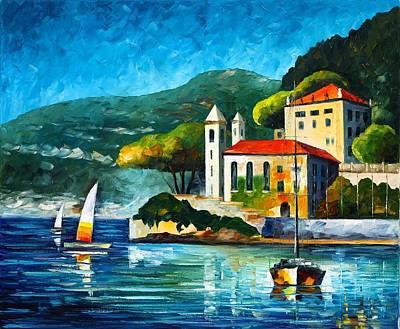 Italy Lake Como Villa Balbianello Poster by Leonid Afremov
