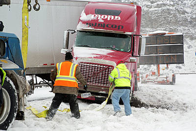 Jackknifed Truck Blocking Highway Poster by Jim West