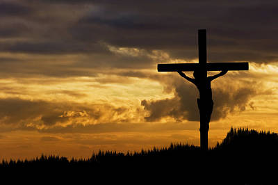 Jesus Christ Crucifixion On Good Friday Silhouette Poster by Matthew Gibson
