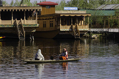 2 Ladies In A Small Boat In The Dal Lake In Srinagar - In Front  Poster by Ashish Agarwal