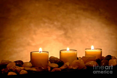 Meditation Candles Poster by Olivier Le Queinec