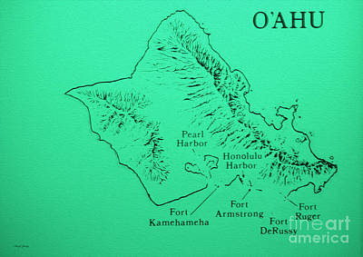 Military Fort Map Oahu Poster by Cheryl Young