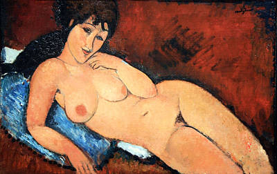 Modigliani's Nude On A Blue Cushion Poster by Cora Wandel