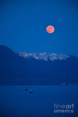 Moon Over Santorini Poster by Brian Jannsen