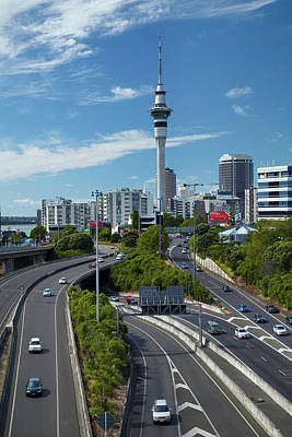 Motorways And Skytower, Auckland, North Poster by David Wall